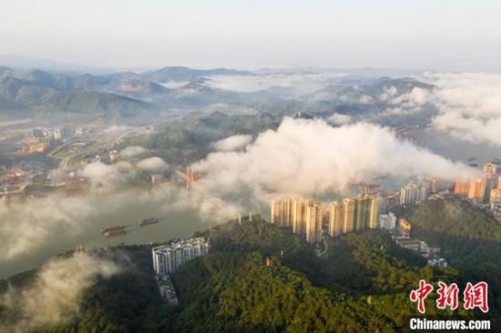 广西梧州出现平流雾 城市披上一层神秘面纱