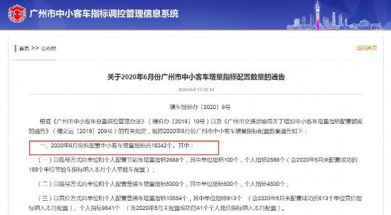 广州6月拟配置中小客车增量指标18242个