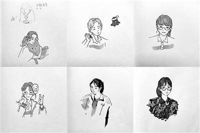 高三女生手绘肖像做明信片赠予同学