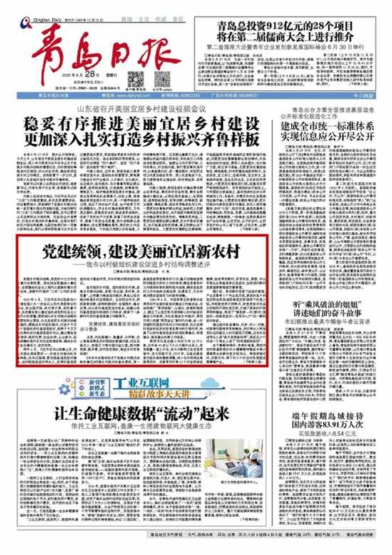 青岛:党建统领,建设美丽宜居新农村