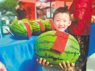 <p>    7月7日,灵武市梧桐树乡沙坝头村首届网络西瓜文化节开幕式上,一个孩子抱着自家西瓜参赛。该村种植的4000多亩西瓜喜获丰收。 </p>