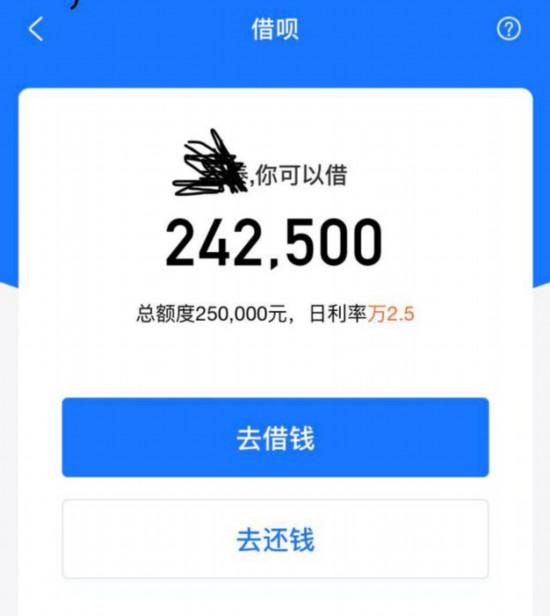 目前花呗借款额度可超20万。网友截图