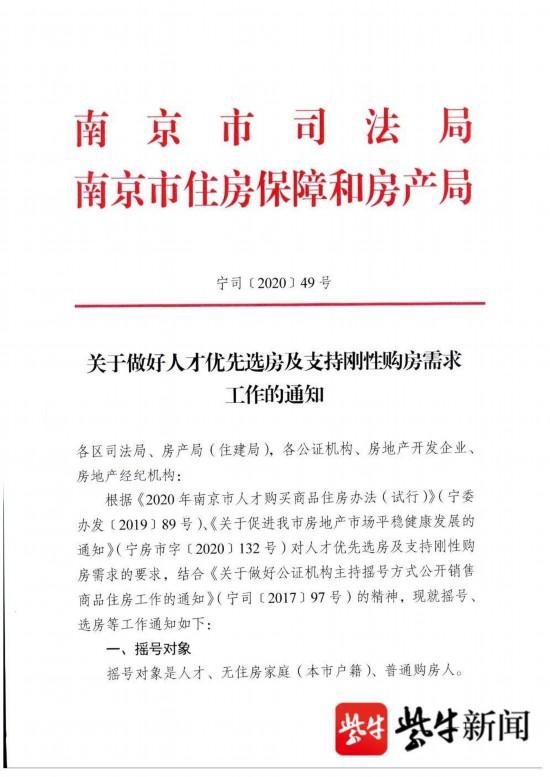 南京摇号购房新规发布:人才优先选房 支持刚需购房