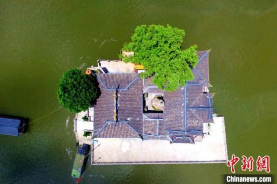 航拍福州水上唯一寺庙――金山寺