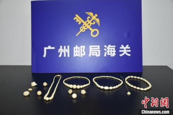 广州海关在邮递渠道接连查获象牙制品 王嘉媚 摄