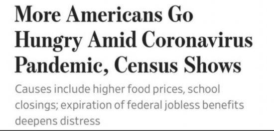 美媒:疫情之中越来越多美国人饿肚子原因何在?