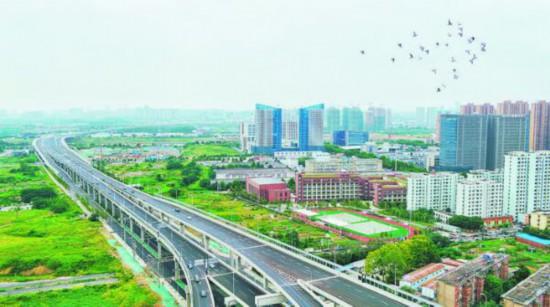 圖為8月27日航拍的郎溪路(包河大道-裕溪路)工程。 記者 宋炎駿 攝