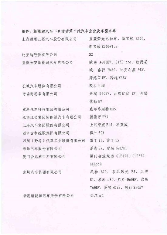 中汽协发布第二批新能源汽车下乡名单 涉及上汽通用五菱等其他36款车型
