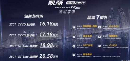 东风悦达起亚全新K5凯酷上市 搭载1.5T/2.0T发动机