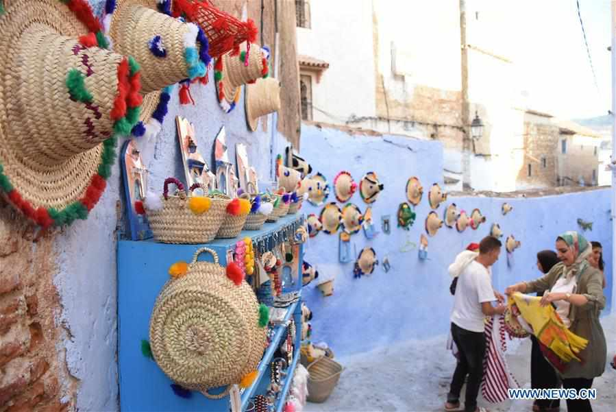 """Scenery of Morocco's """"blue city"""" Chefchaouen"""