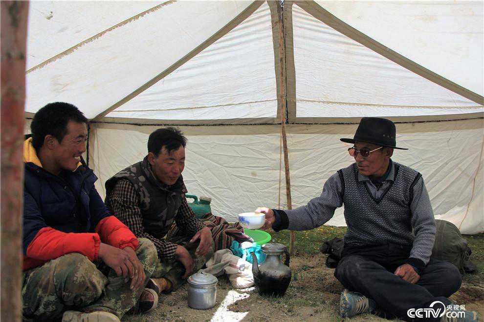 党觉桑布到放牧点上看望两个儿子。(袁育�� 摄)