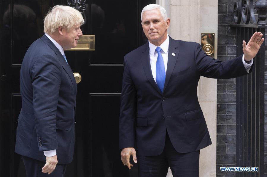 BRITAIN-LONDON-BORIS JOHNSON-U.S.-MIKE PENCE-MEETING