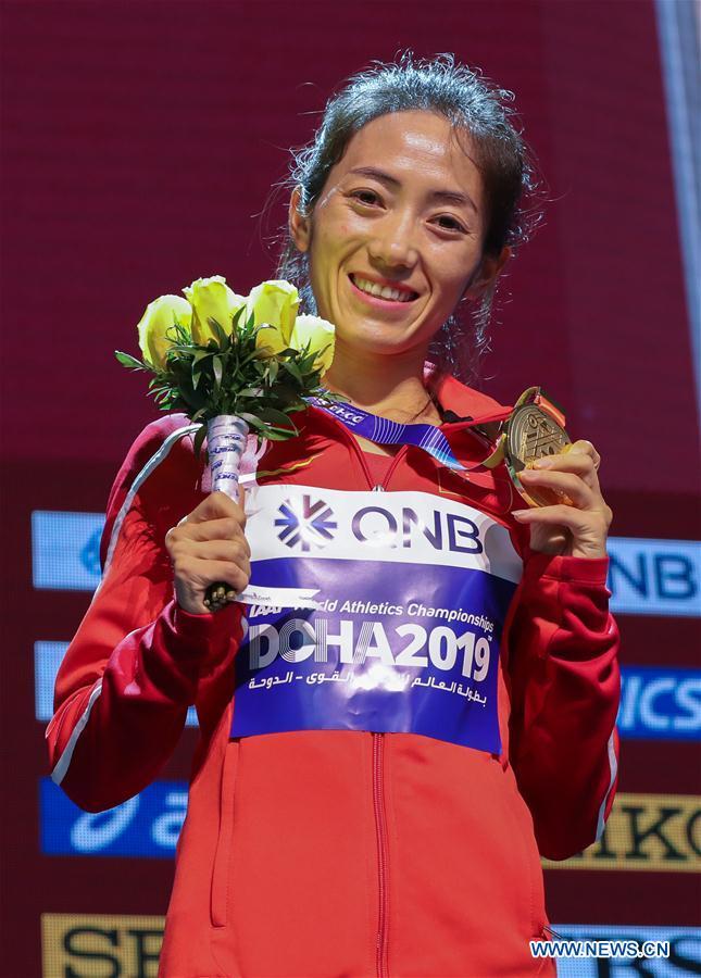 (SP)QATAR-DOHA-IAAF WORLD ATHLETICS CHAMPIONSHIPS-WOMEN'S 50KM RACE WALK-AWARDING CEREMONY