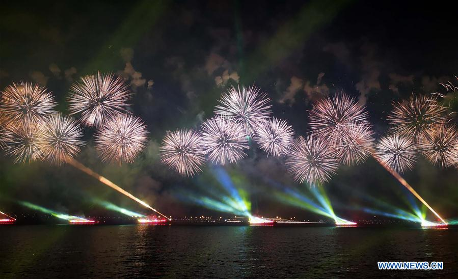 Fireworks explode marking 70th founding anniversary of PRC in Guangdong