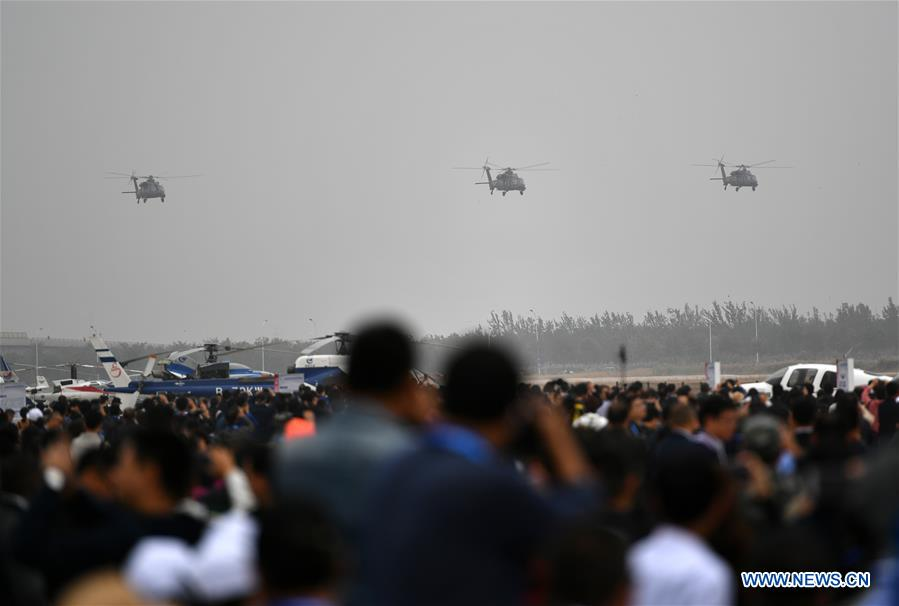 China's new self-developed Z-20 helicopters make demonstration flight in Tianjin