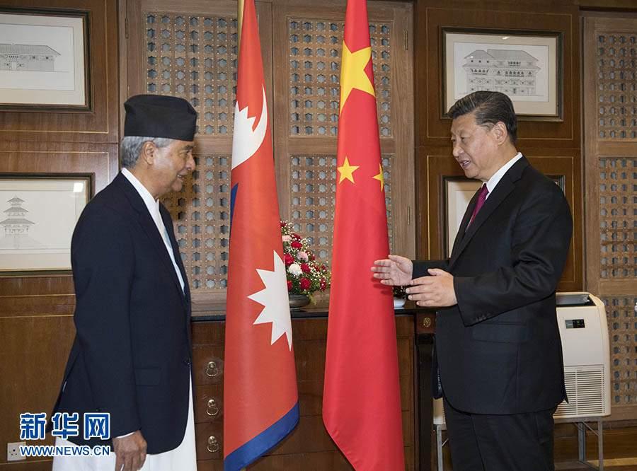 习近平会见尼泊尔大会党主席德乌帕