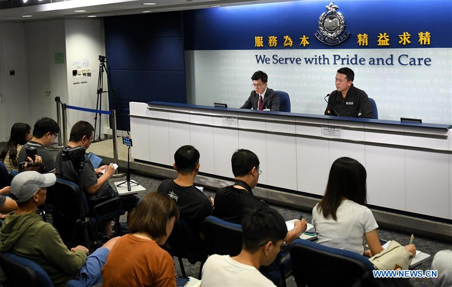 Hong Kong police report seizures of explosives from suspected rioters