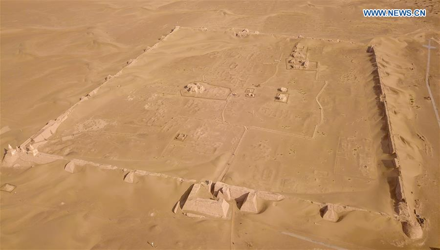 View of Heicheng relic site in Ejina Banner, China's Inner Mongolia