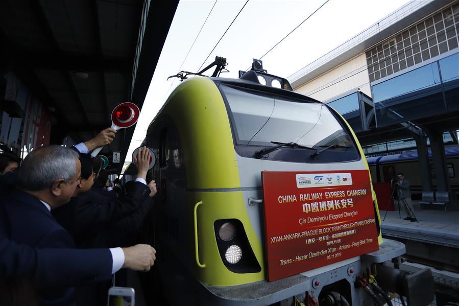 TURKEY-ANKARA-CHINA RAILWAY EXPRESS FREIGHT TRAIN-ARRIVAL