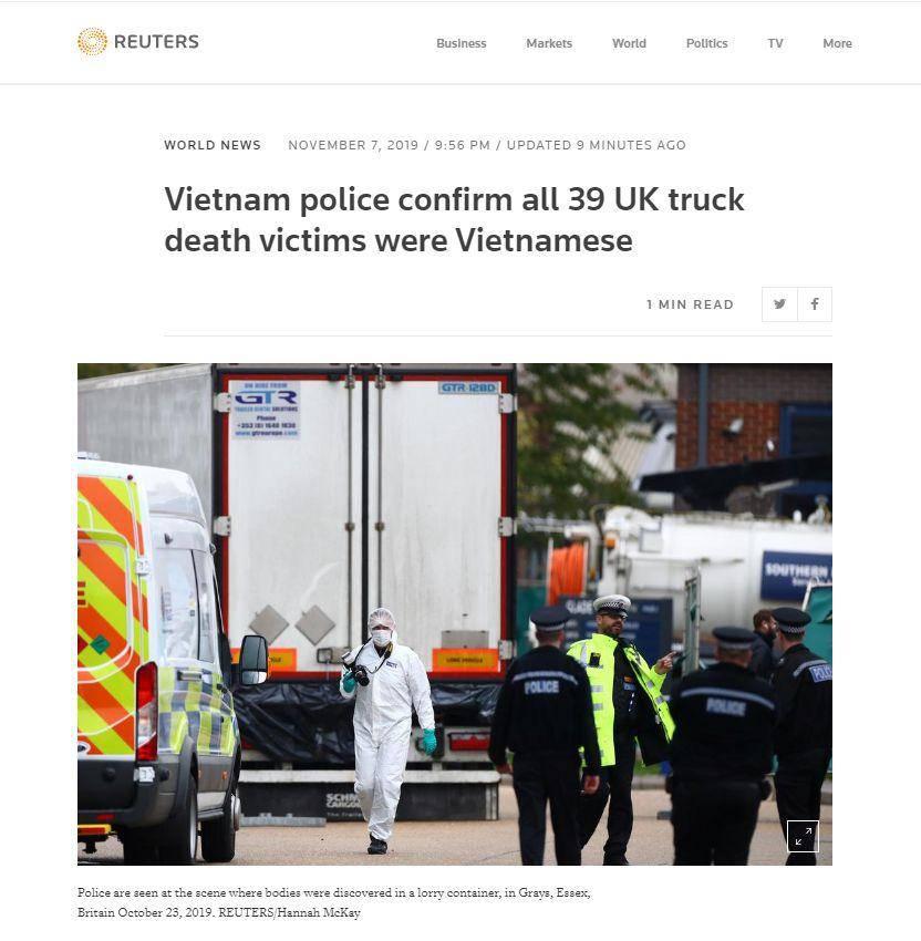 """越南确认英国""""死亡货车""""39名遇难者全为越南公民"""