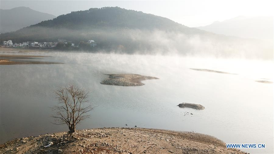 Winter scenery of Qishu lake in China's Anhui