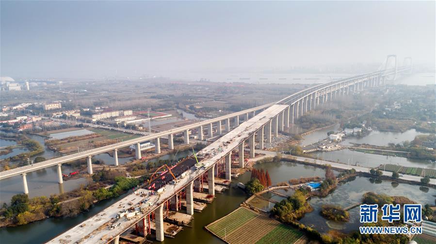 (經濟)(2)商合杭鐵路蕪湖長江公鐵大橋公路主線橋全面貫通