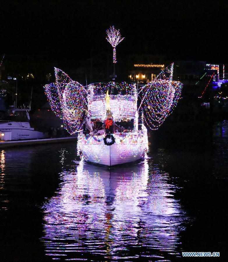 Huntington Harbor Boat Parade held in Huntington Beach, U.S.