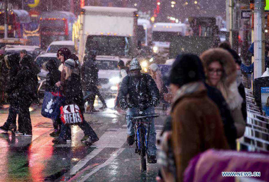 Sudden snow squall hits New York