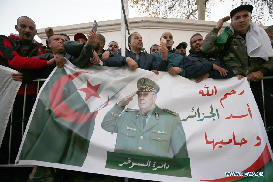 Algerians bid farewell to late army chief in official funeral