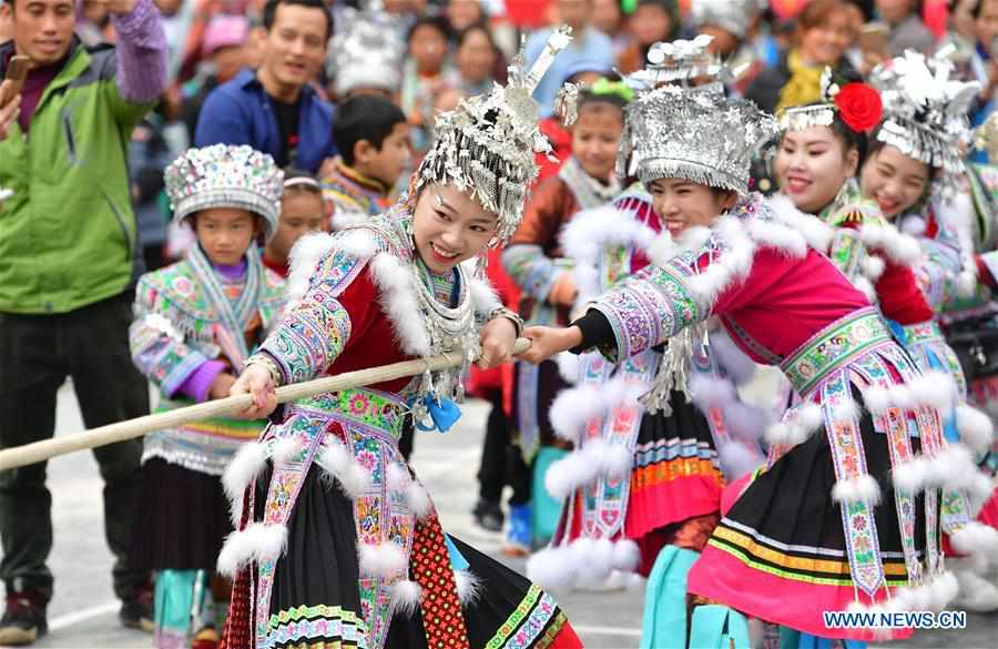 Miao people celebrate traditional New Year in south China's Guangxi