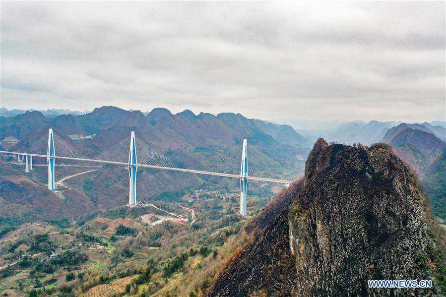 View of Pingtang Bridge in SW China's Guizhou