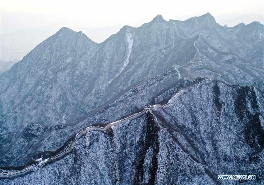 Snow scenery at Jiankou Great Wall in Beijing