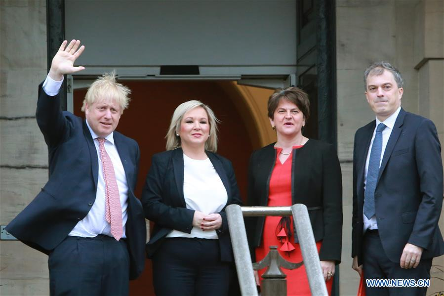 UK-BELFAST-PM-BORIS JOHNSON-VISIT