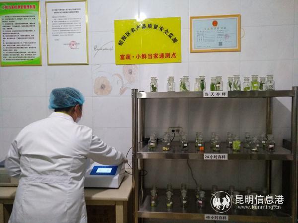 富蔬公司的工作人员正在进行农残检测。记者江枫摄