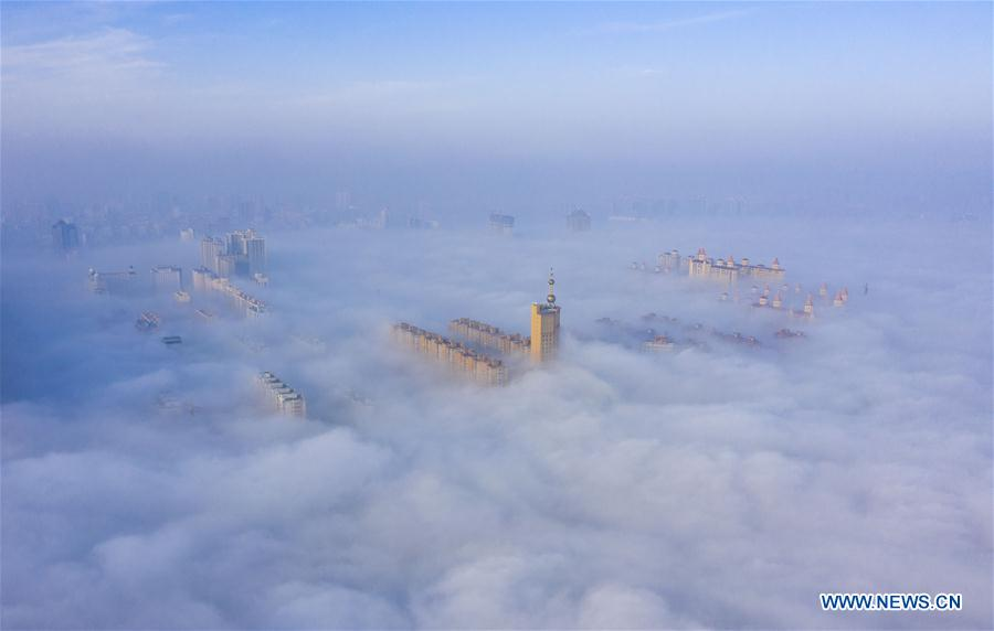 Scenery of advection fog in Yuncheng, N China
