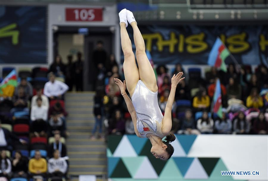 China's Zhu Xueying wins women's final of Trampoline Gymnastics at FIG World Cup