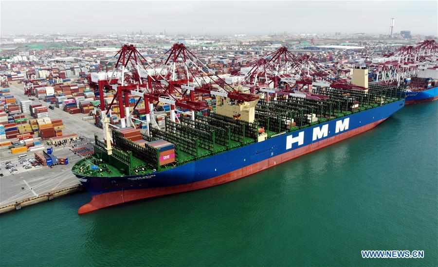 CHINA-SHANDONG-QINGDAO-WORLD'S LARGEST CONTAINER SHIP-MAIDEN VOYAGE