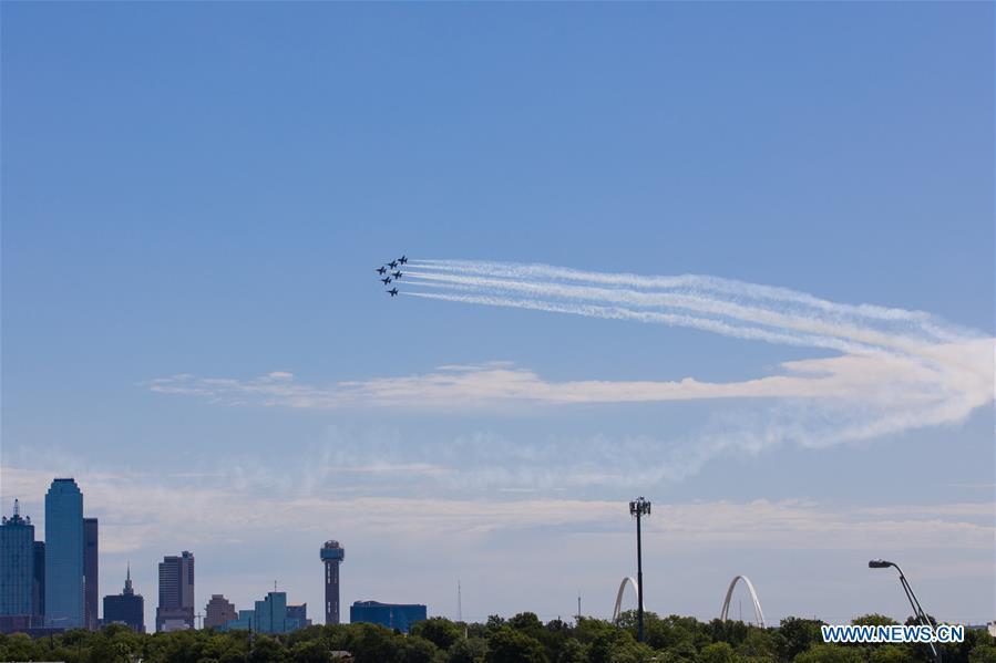 U.S. Blue Angels fly over Texas, Louisiana to honor coronavirus frontline workers