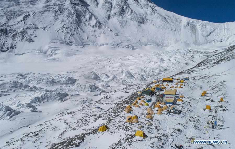 In pics: advance camp at altitude of 6,500 meters on Mount Qomolangma