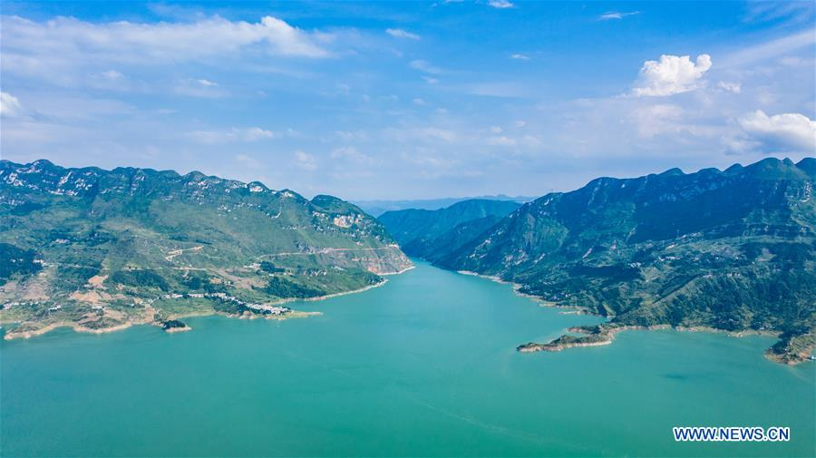 Aerial view of Zangke River in Liupanshui, Guizhou