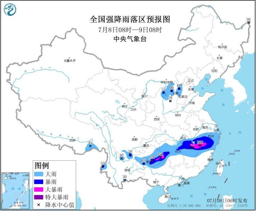 暴雨橙色预警:江西北部等地局地有特大暴雨