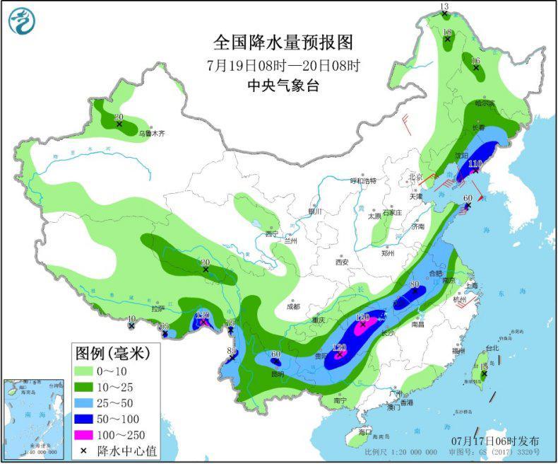 西南地区东部江汉黄淮江淮等地有强降雨 江南中南部华南等地有高温