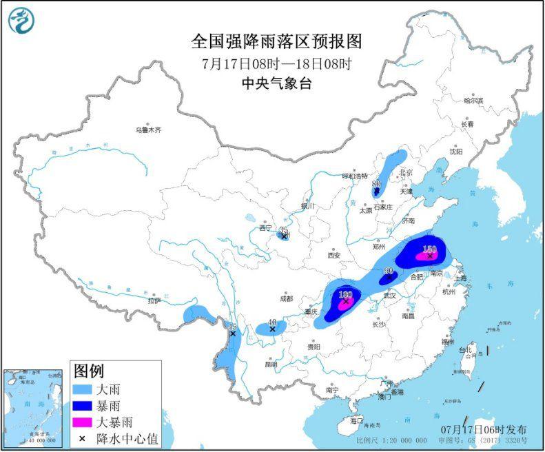 西南地区东部江汉黄淮江淮等地有强降雨华北等地多阵雨和雷阵雨