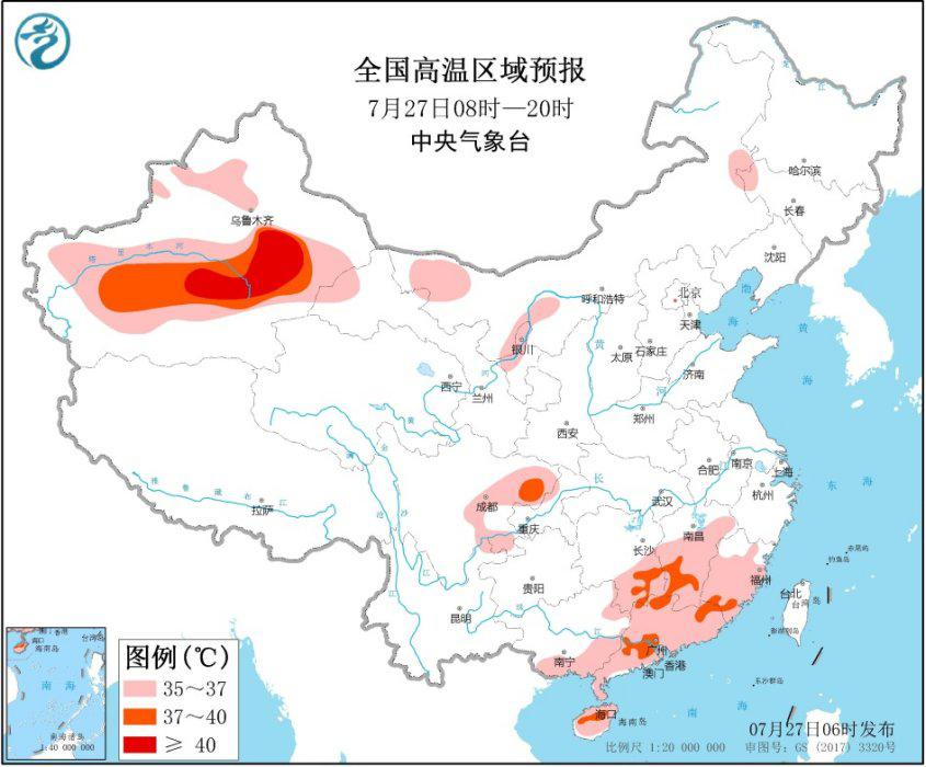 高温黄色预警:四川、湖南、江西、福建等地有35℃以上高温天气