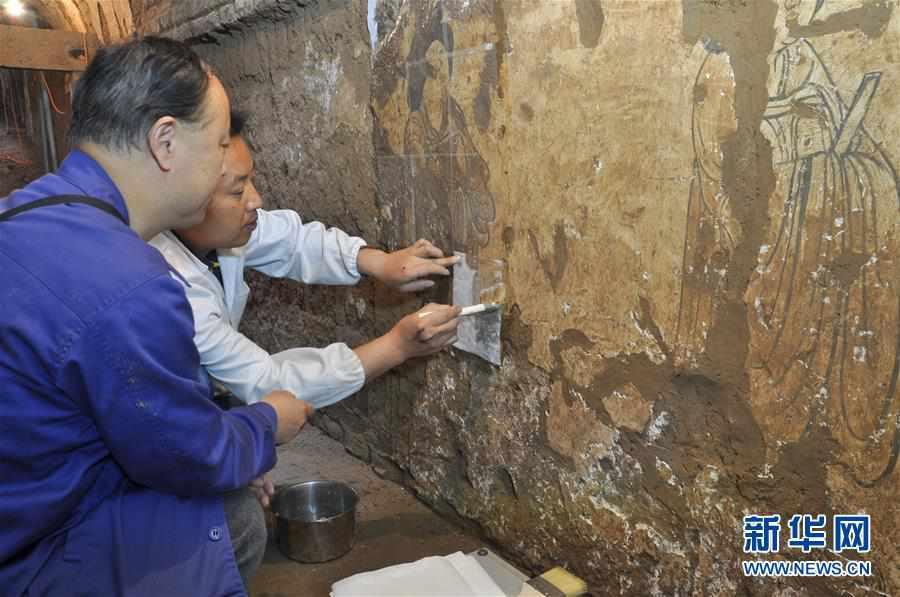 (图文互动)(1)陕西:唐墓壁画修复再现唐代生活场景