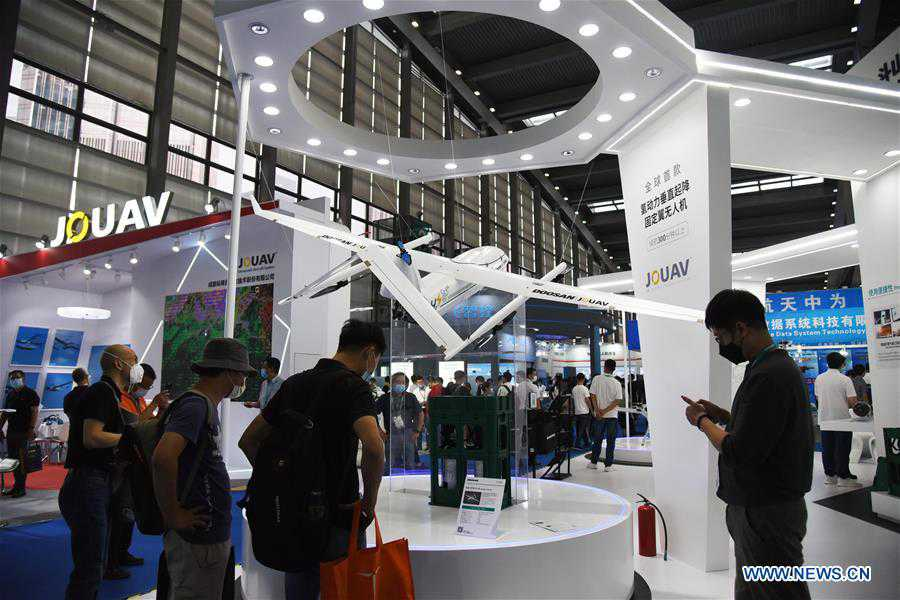 People visit 5th Shenzhen Int'l UAV Expo in Guangdong