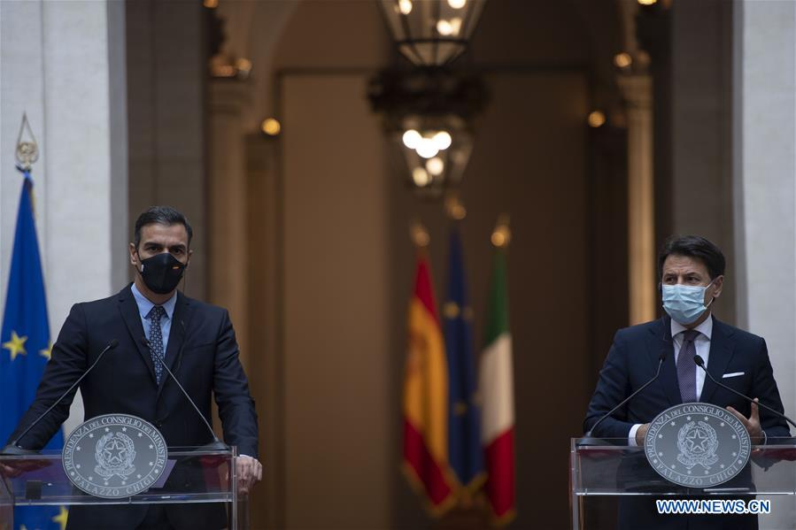 ITALY-ROME-PM-SPAIN-PM-PRESS CONFERENCE-EU RECOVERY FUND