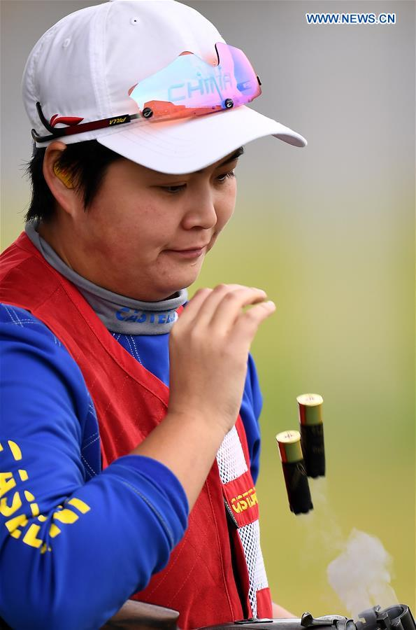(SP)CHINA-SHANXI-LINFEN-SHOOTING-CHINESE NATIONAL CHAMPIONSHIPS-WOMEN'S TRAP QUALIFICATION (CN)