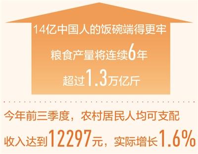 去年农村居民人均可支配收入超1.6万元