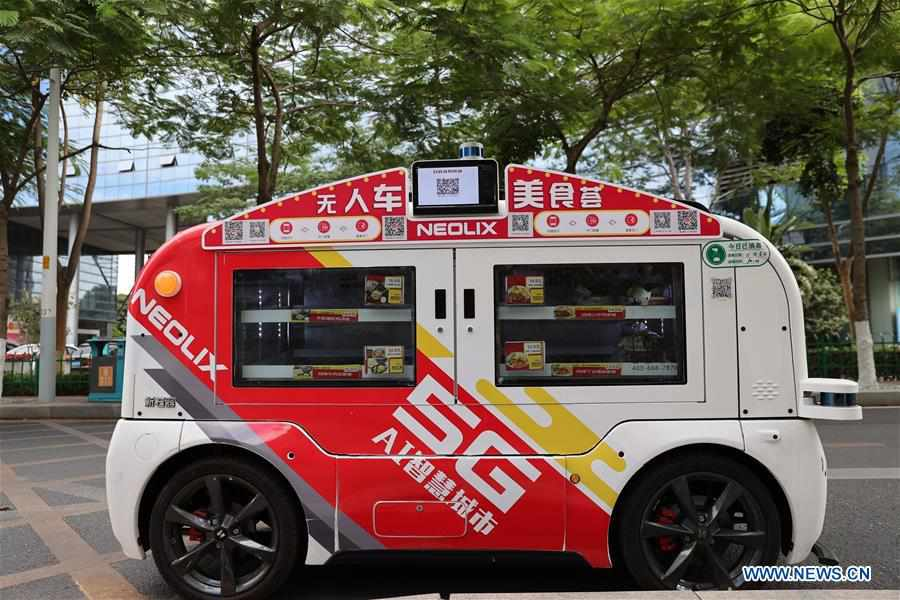 Unmanned food delivery vehicles put into use in Xiamen, Fujian